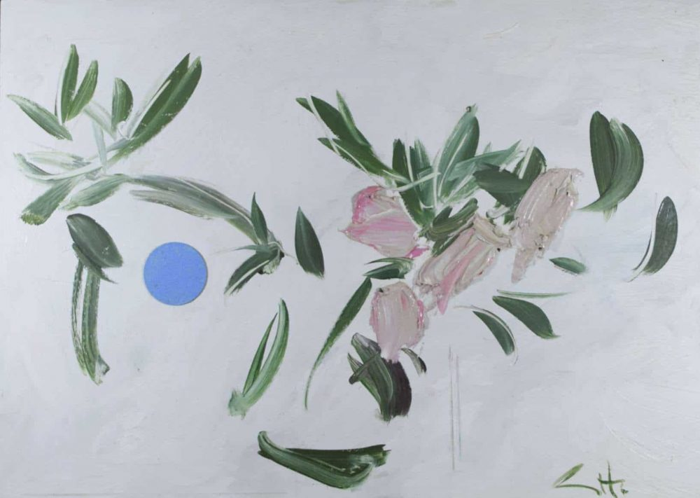 Camellia and Moon by George Hainsworth, Oil on board