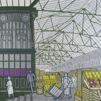 Covent Garden Fruit Market 1967 by Edward Bawden, Lithograph signed, unnumbered
