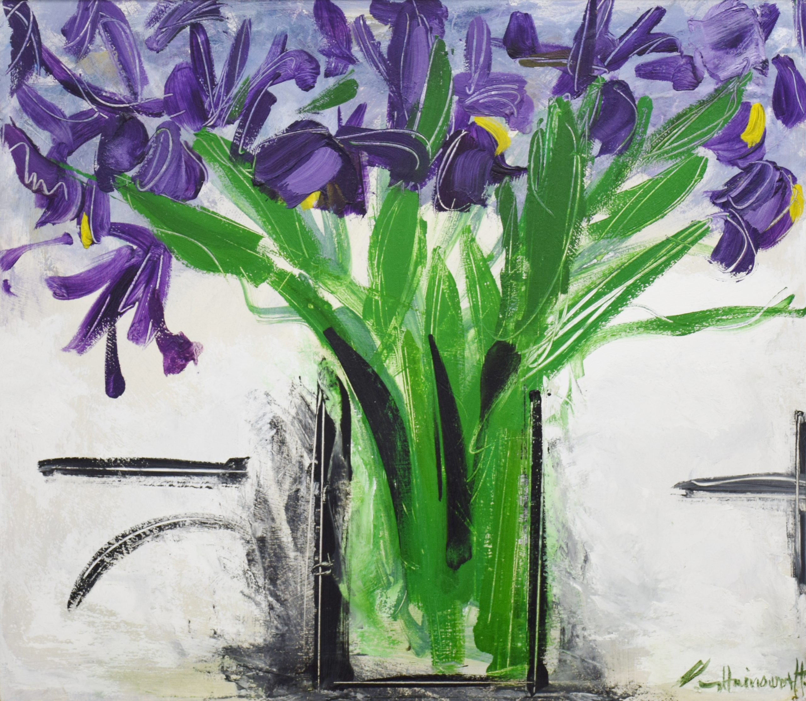 Irises by George Hainsworth, Oil on board