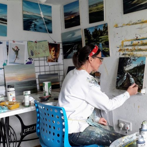 Kirsty Whyatt Artist in her studio