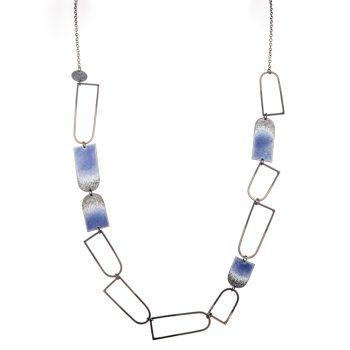 Long blue enamel and oxidised silver arch necklace by Annabet Wyndham