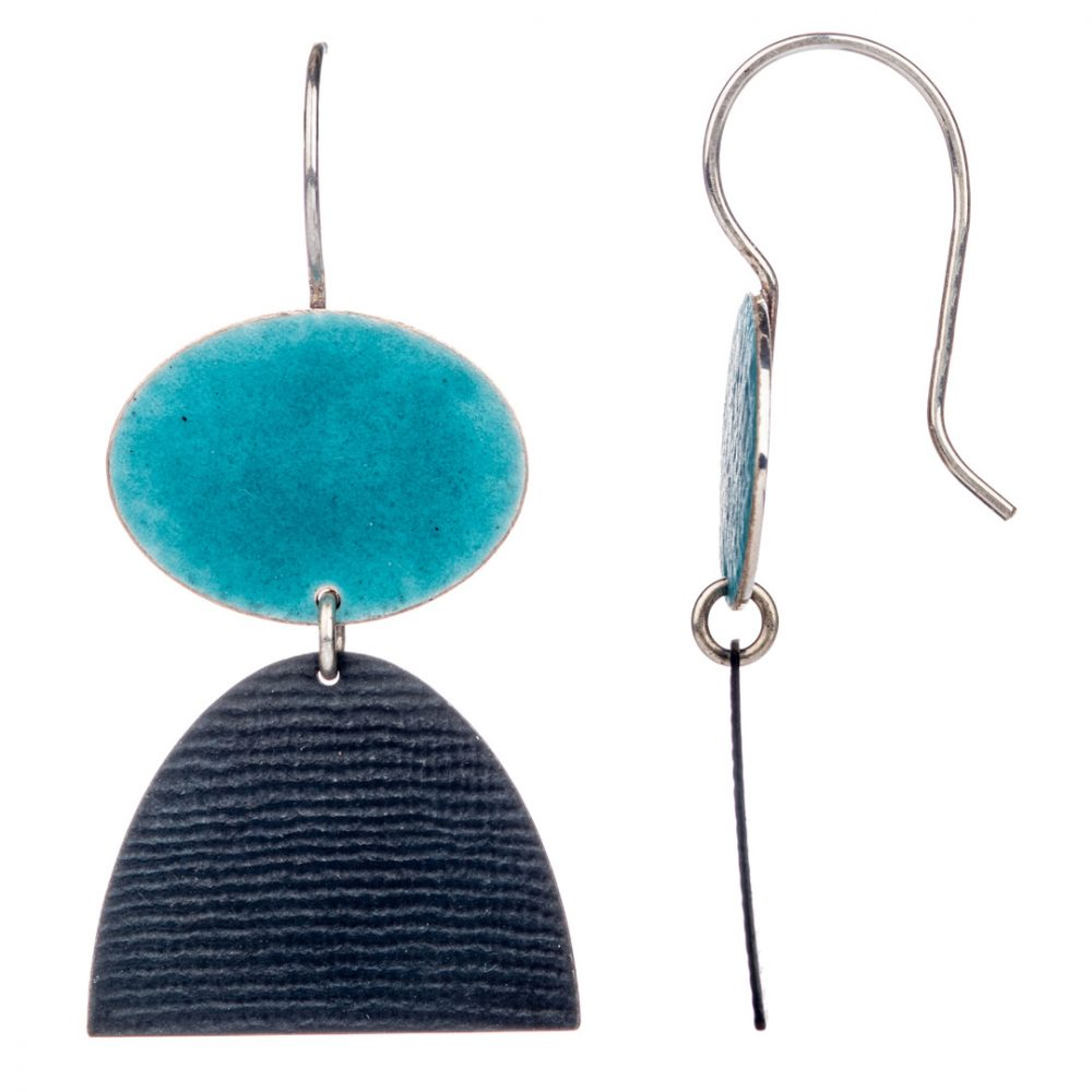 Turquoise Oval Hook Earrings by Annabet Wyndham, Oxidised silver and enamel