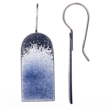 Violet Arch Hook Earrings by Annabet Wyndham in silver and enamel