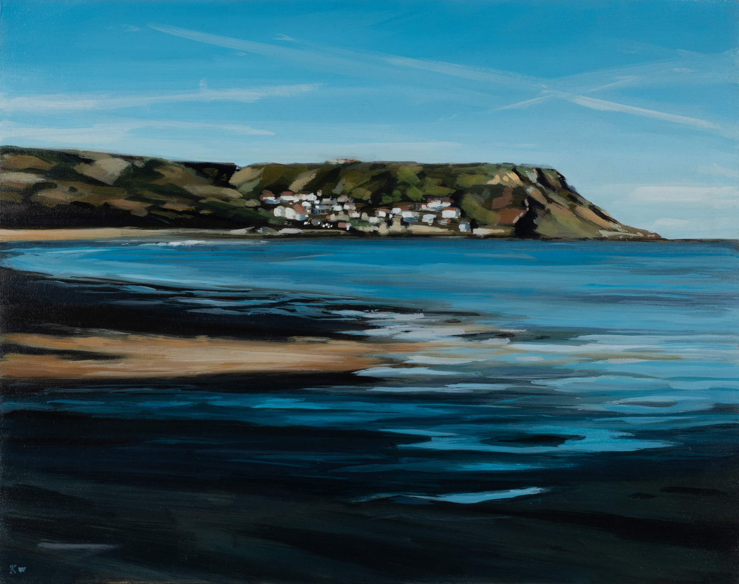 Runswick Bay by Kirsty Whyatt, Acrylic on birch