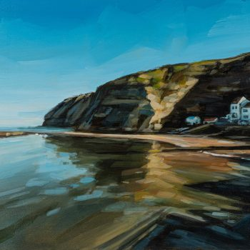 Staithes Cliffs by Kirsty Whyatt, Acrylic on birch