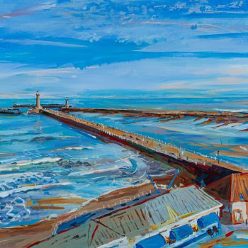 Whitby Two Piers by Emma Holliday, Acrylic on board