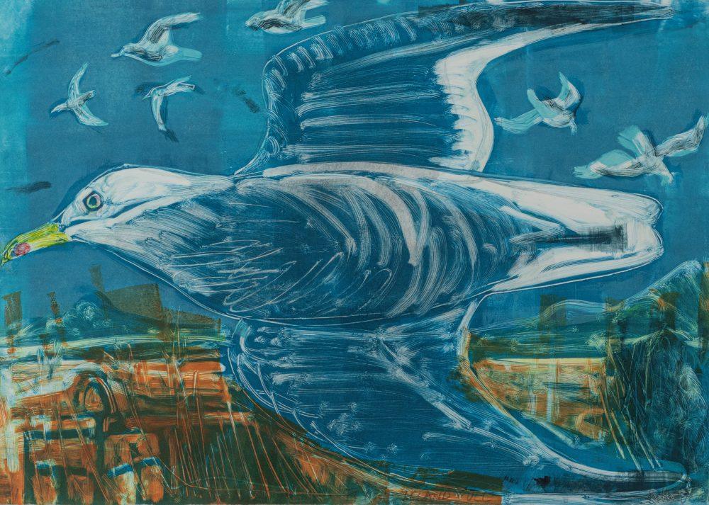 Flying Gull by Kittie Jones, Monotype