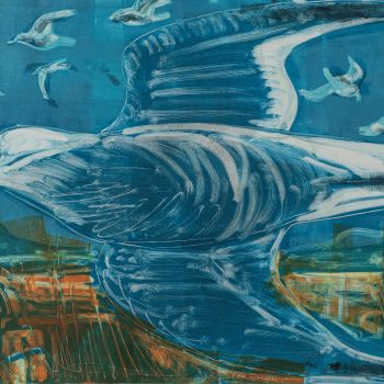 Flying Gull by Kittie Jones, Monotype