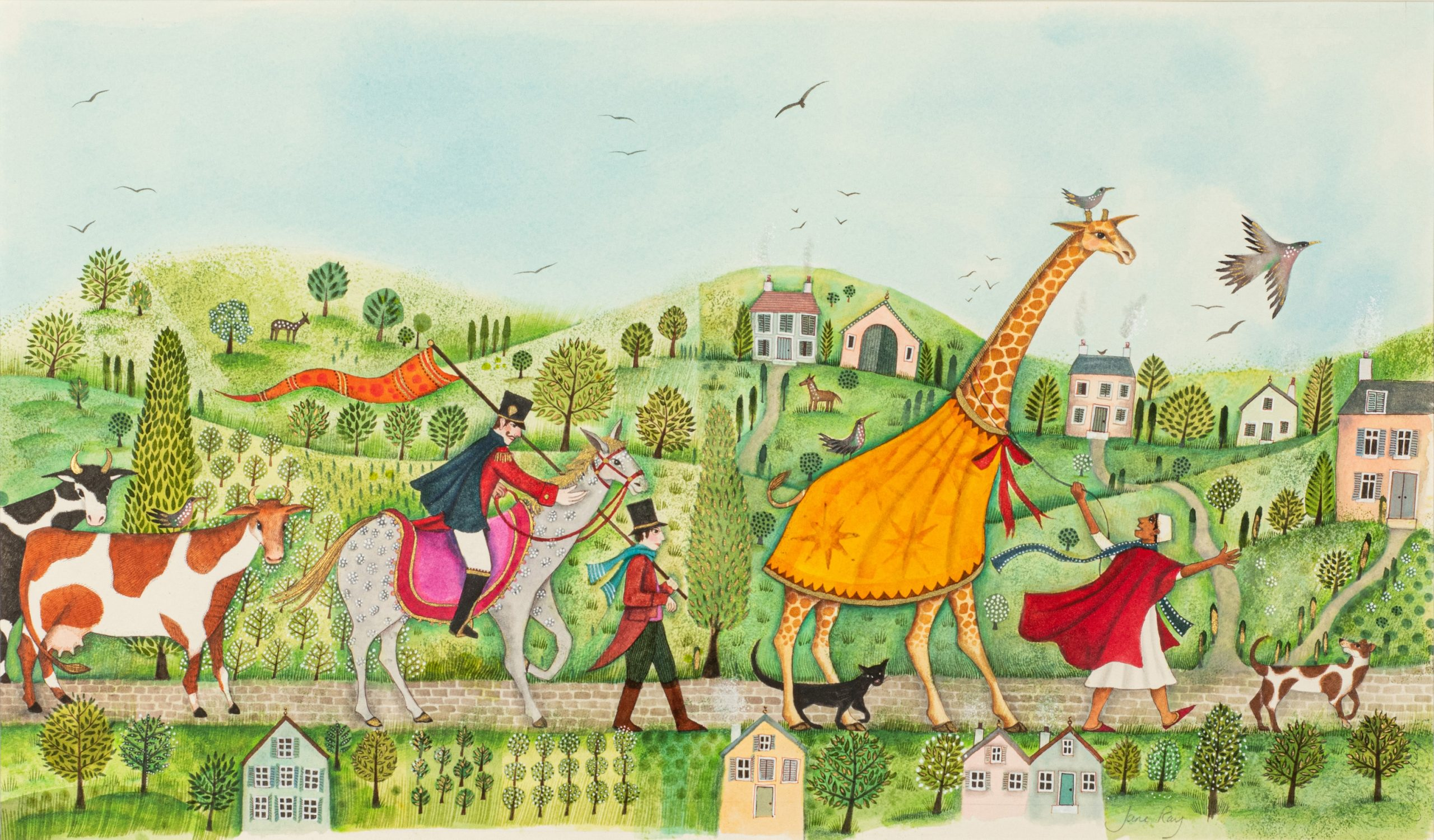 Cover Artwork for Zeraffa Giraffa by Jane Ray, mixed media
