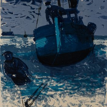 Attaching The Winch by Bernard Cheese, Lithograph