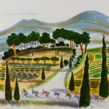 Cyclists in Provence 1993 by Bernard Cheese RE, Lithograph