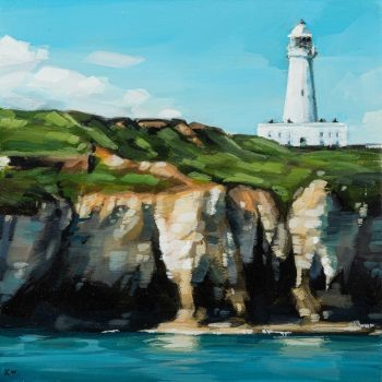 Flamborough Lighthouse by Kirsty Whyatt, Acrylic on birch