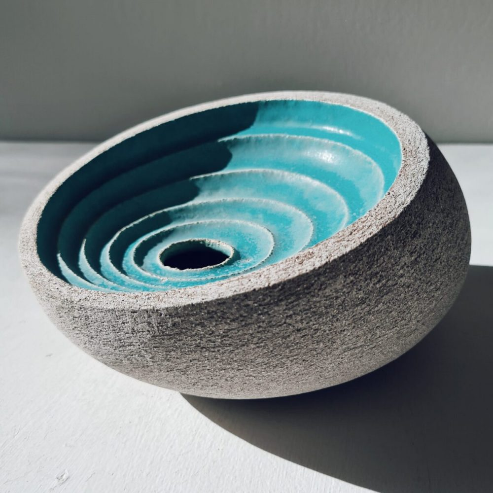 Ripple Vessel in Sky Blue, Stoneware by Michele Bianco