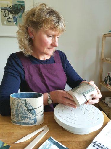 Louise McNiff in her Ceramics Studio