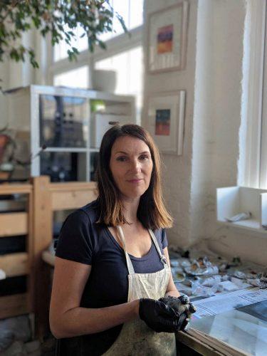 Louise Davies RE printmaker in her studio