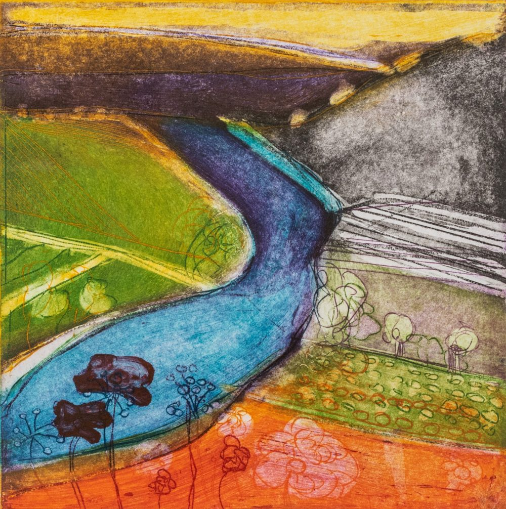 Across The Valley by Louise Davies, Etching