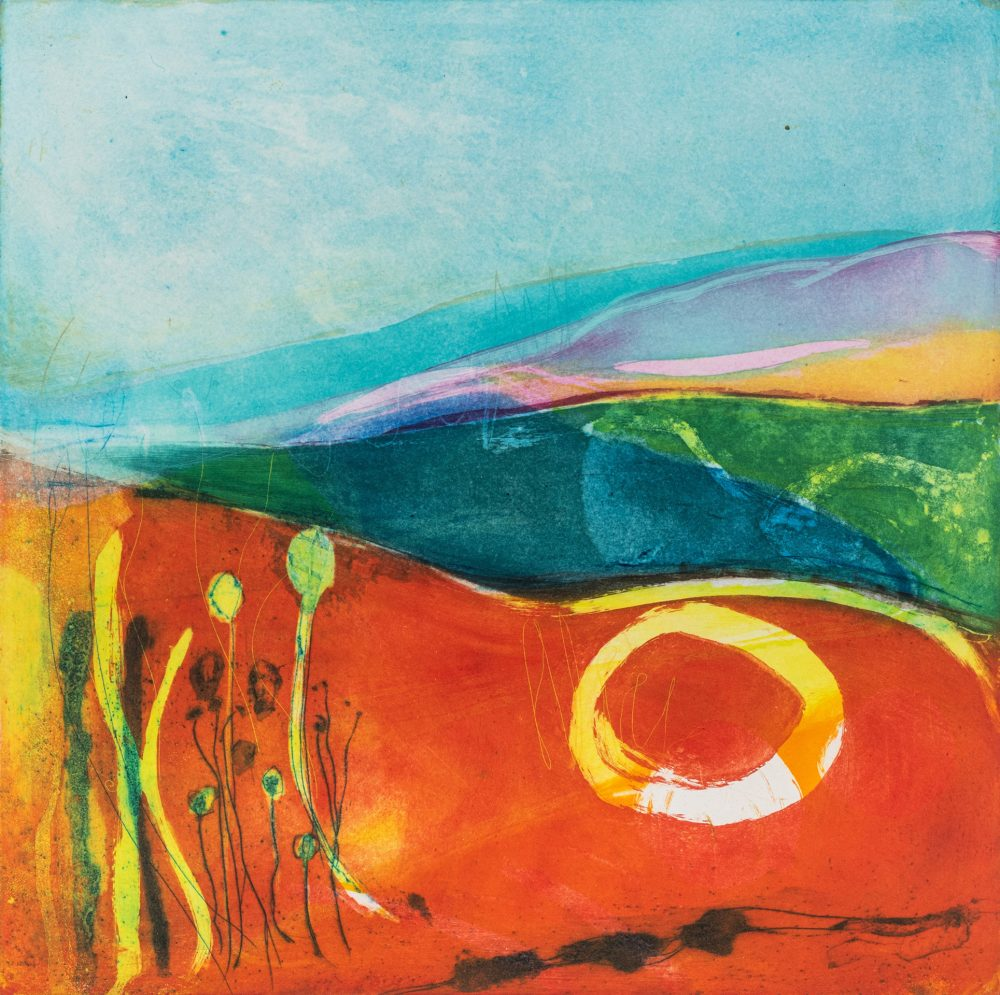 Summer Solstice by Louise Davies RE, Etching and collagraph