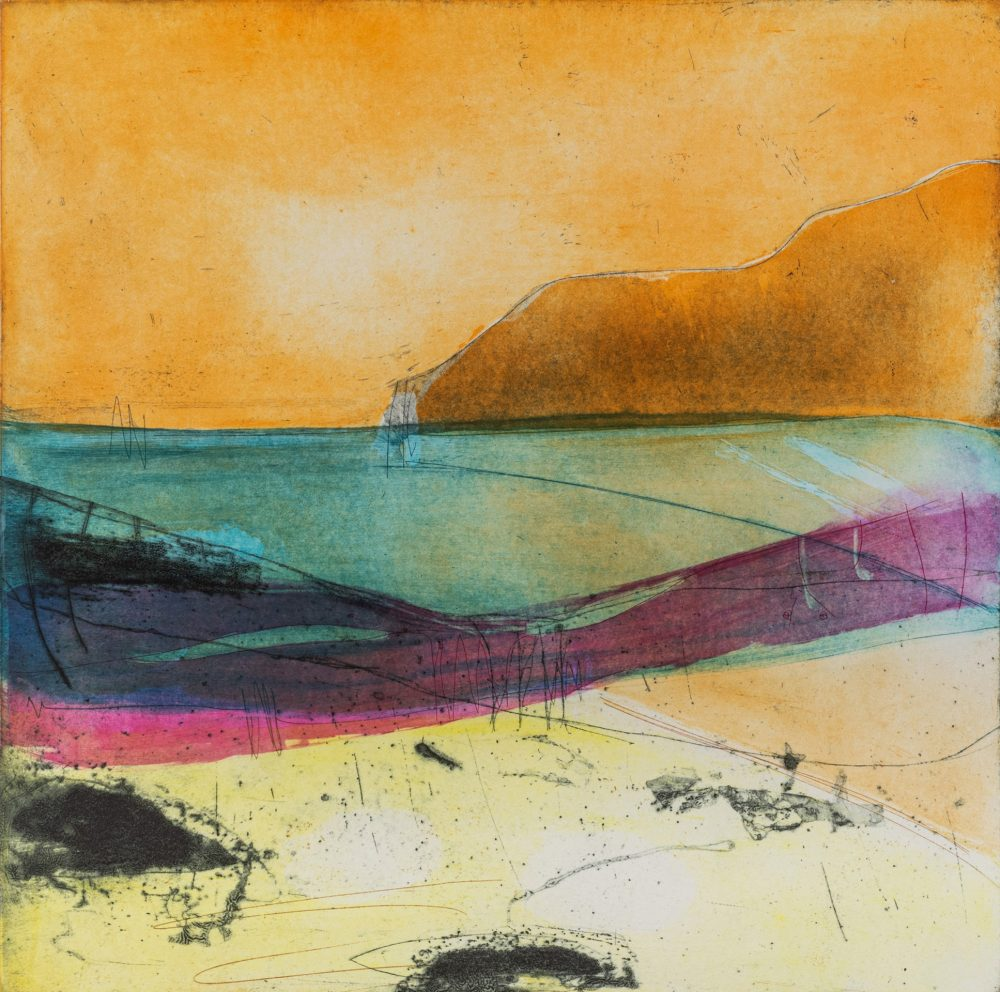 Distant Shores by Louise Davies RE, Etching and collagraph