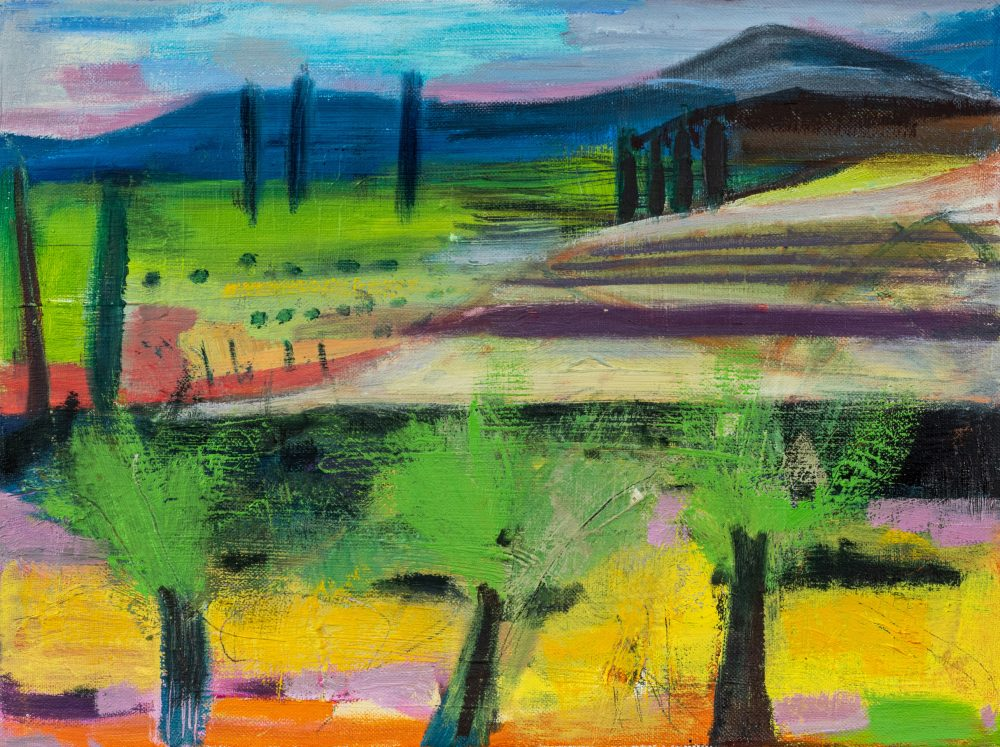 The Olive Groves by Louise Davies RE, oil on canvas