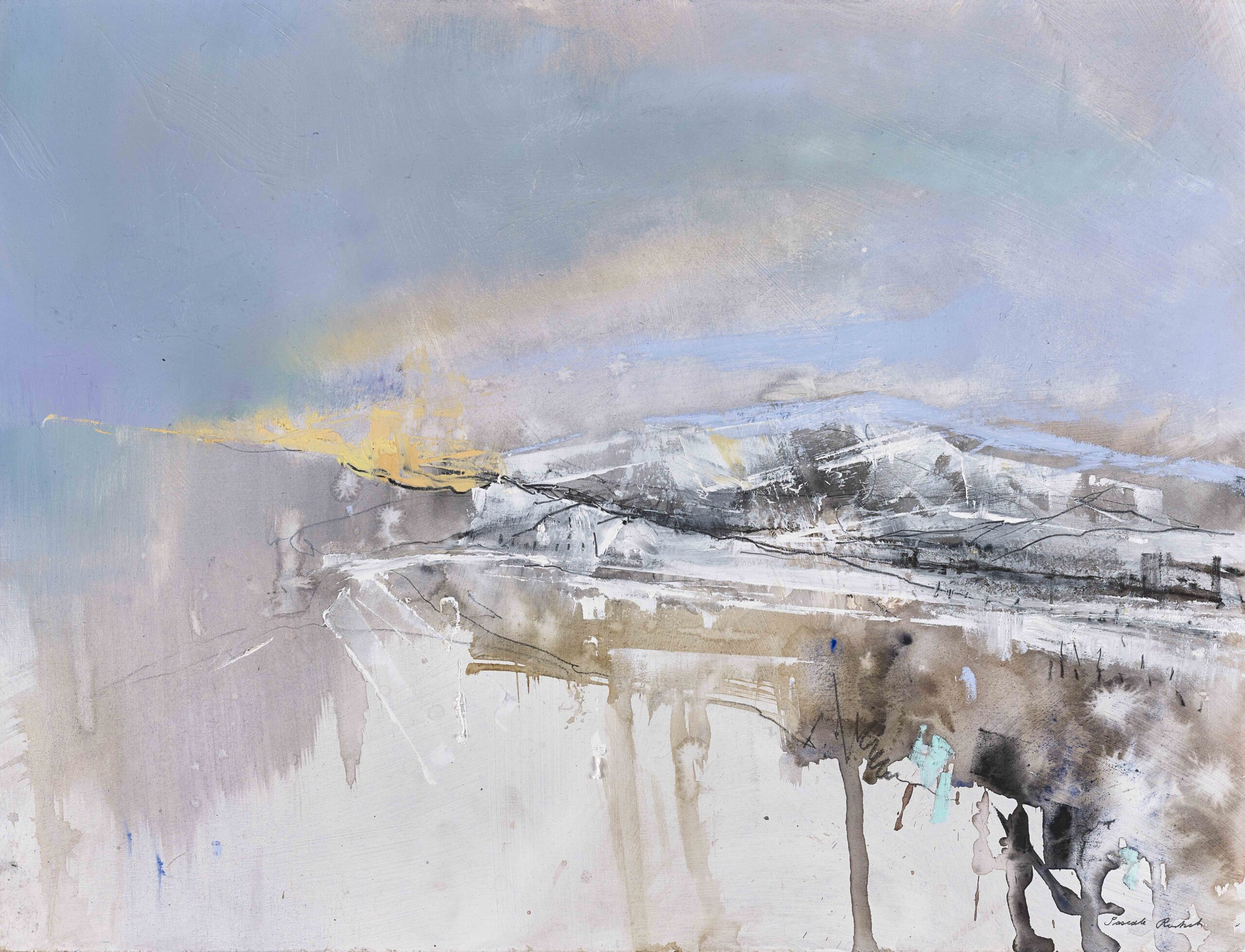Winter Light, Mixed media on board by Pascale Rentsch