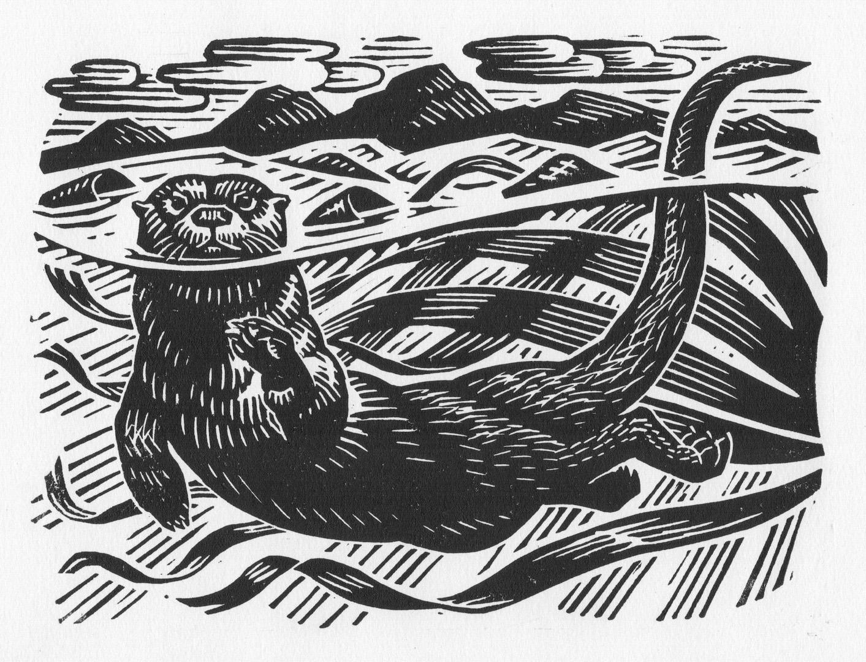 Otter in the Kelp by Richard Allen, Linocut print