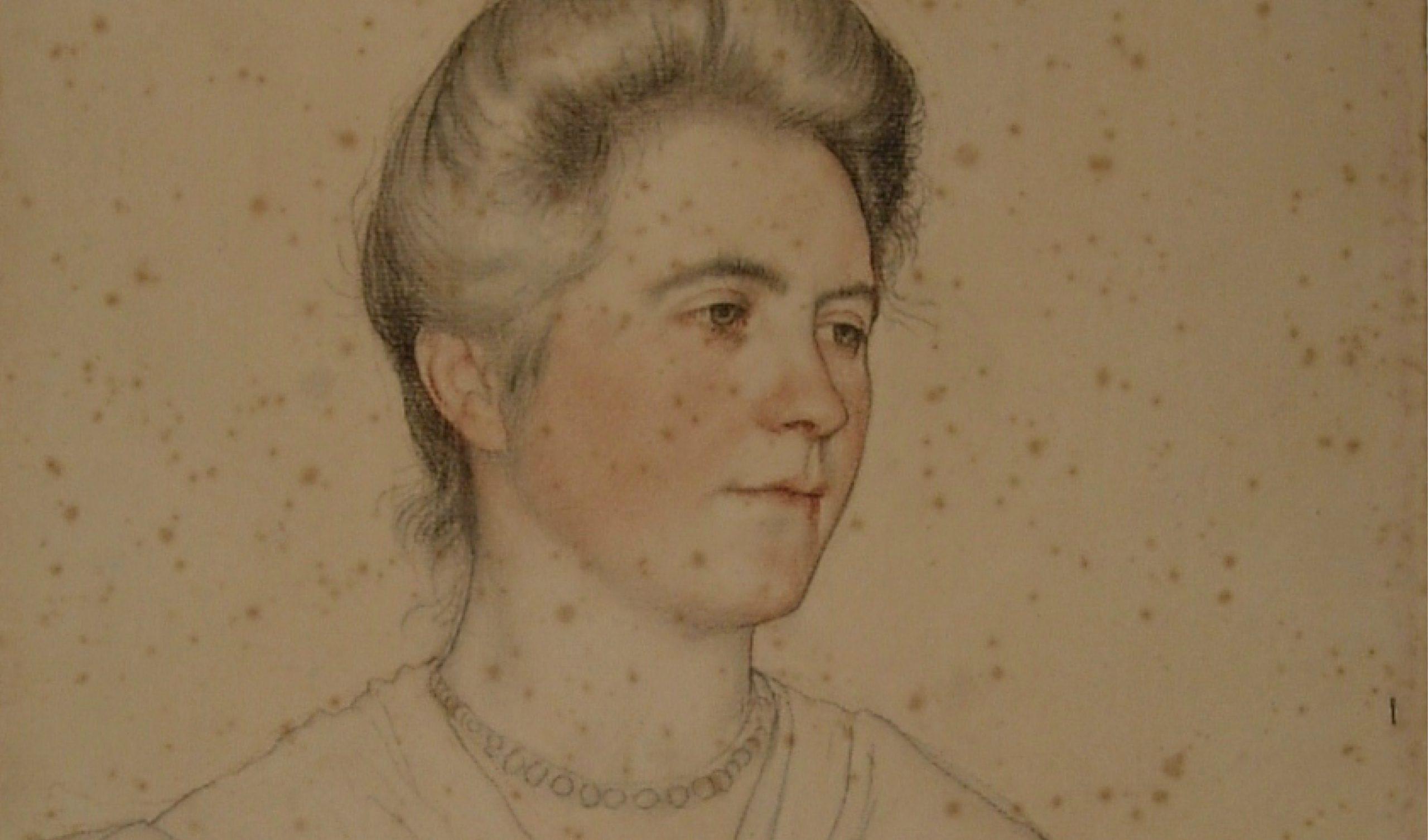 William Strang Portrait of Mrs Waynman Dixon before conservation