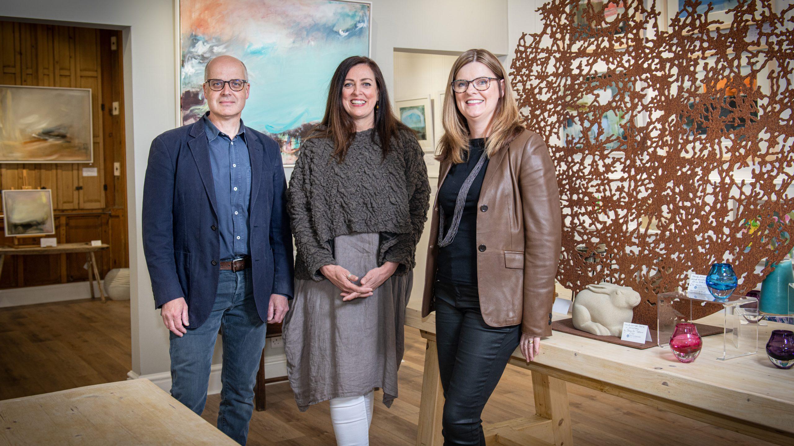 Richard Hawkes, Anna Martola and Liz Hawkes at Watermark Gallery