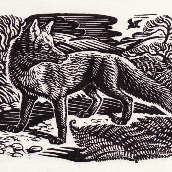 Fox and Woodcock by Richard Allen, Linocut print