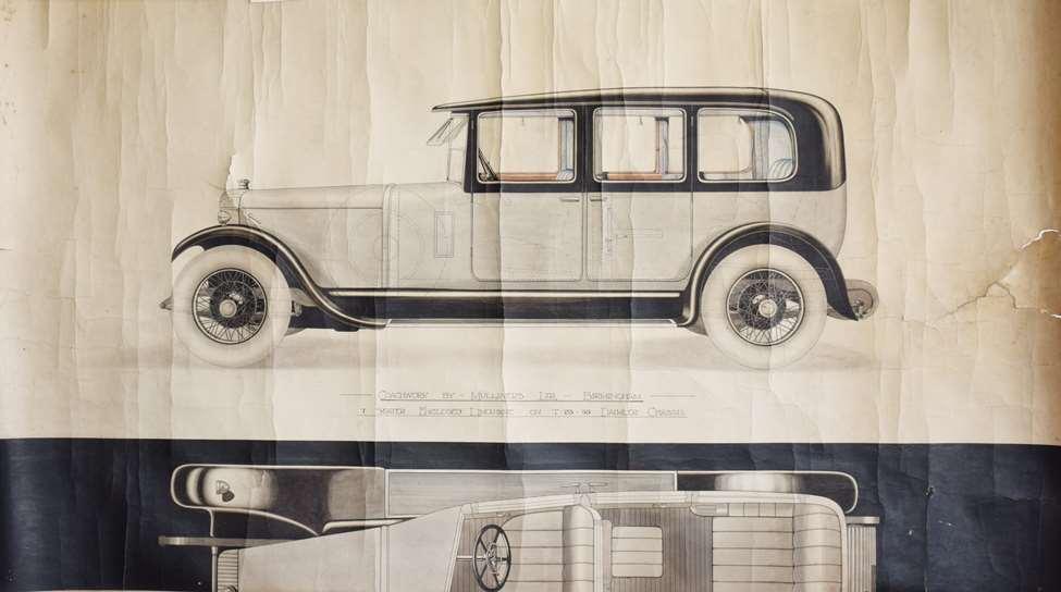 J Wignall, design for Daimler coachwork, during treatment (1)