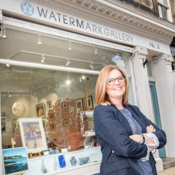 Liz Hawkes outside Watermark Gallery