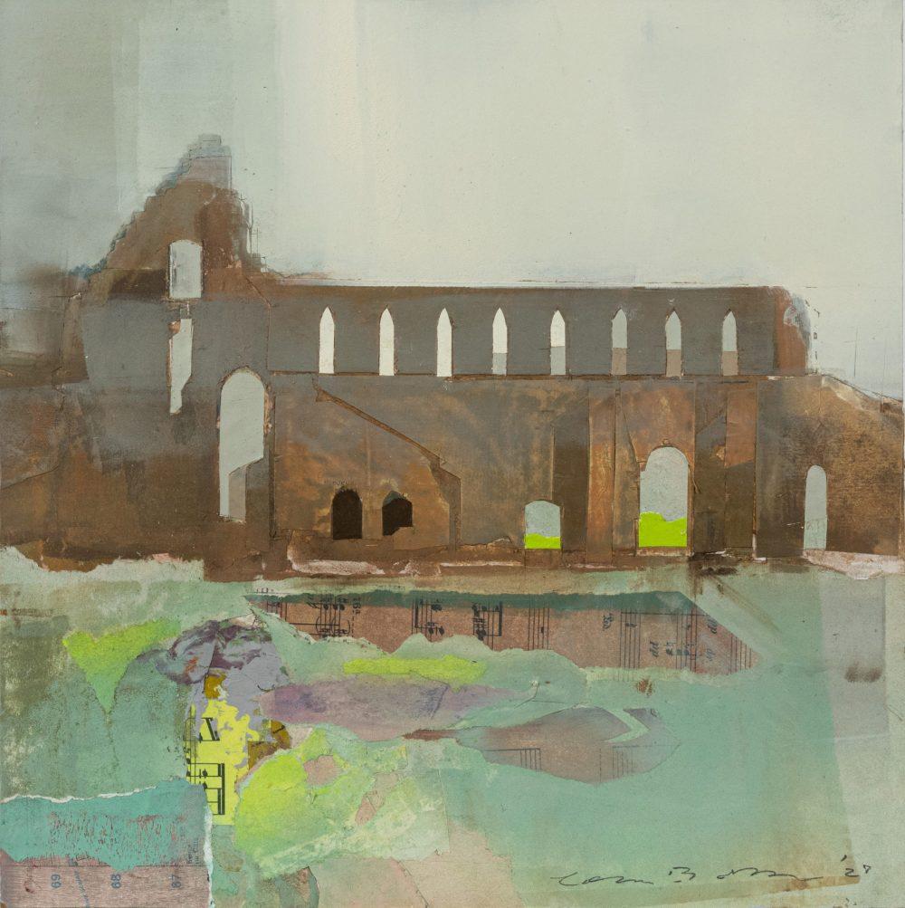 Jervaulx Abbey by Colin Black, mixed media on board
