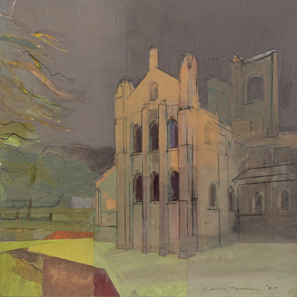 Kirkstall Abbey - Evening by Colin Black in mixed media