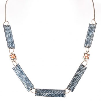 Square Framed Five Piece Necklace by Emily Higham, Enamel, silver, copper and silver leaf