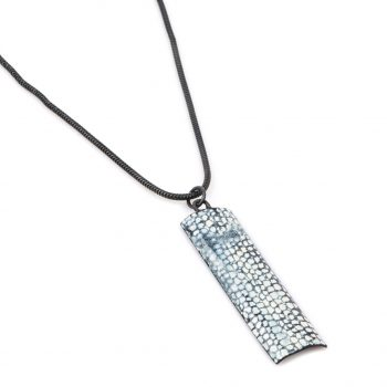 Rectangle Drop Pendant by Emily Higham, Enamel and oxidised silver