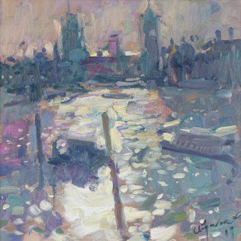 Light on the Thames by Andrew Farmer ROI, Oil on panel