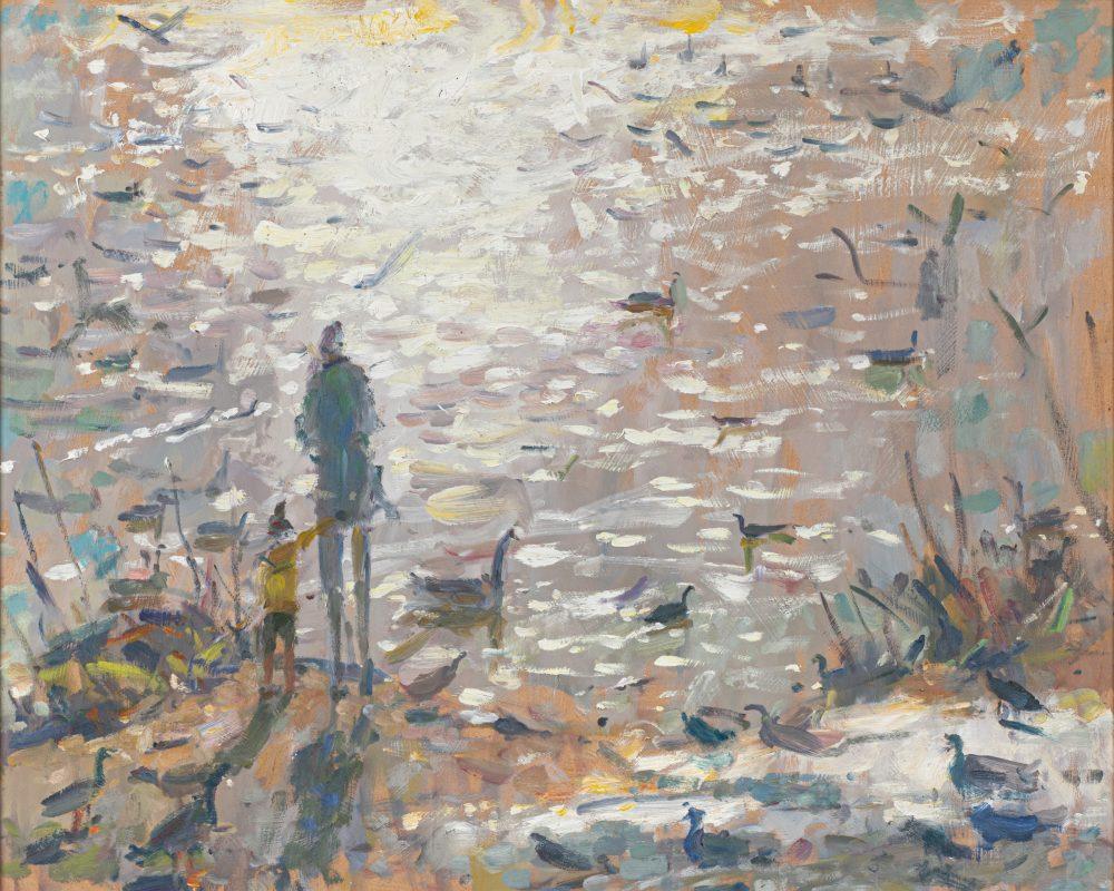 Feeding the Ducks by Andrew Farmer ROI, Oil on panel
