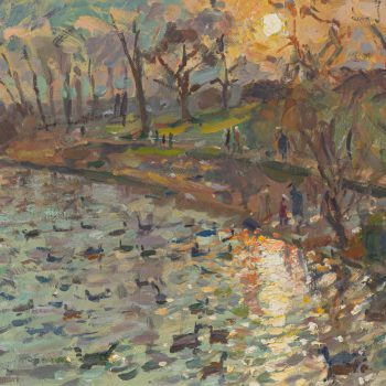 Sunset on the Pond by Andrew Farmer ROI, Oil on panel