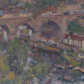 Knaresborough by Andrew Farmer ROI, Oil on panel