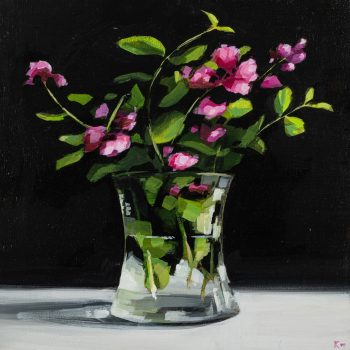 Vase of Wild Pinks by Kirsty Whyatt, Acrylic on birch