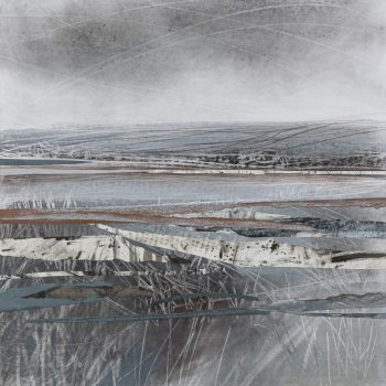Edge of the Wolds by Janine Baldwin PS, Acrylic, pastel, charcoal and graphite collage