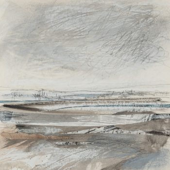 Hill Snow Melting by Janine Baldwin, Acrylic, pastel, charcoal and graphite collage