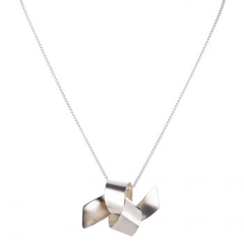 Ribbon Knot Tied Pendant by Jodie Hook in silver