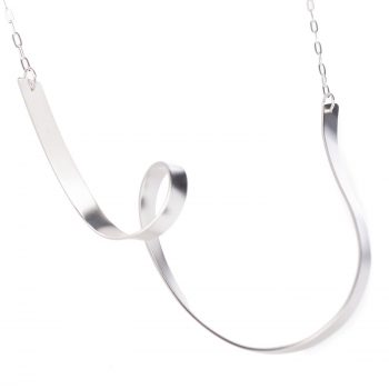 Detail of Ribbon Loop V Necklace by Jodie Hook