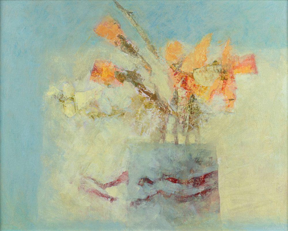 Vase with Ribbon by Irena Kurowska, Acrylic on board
