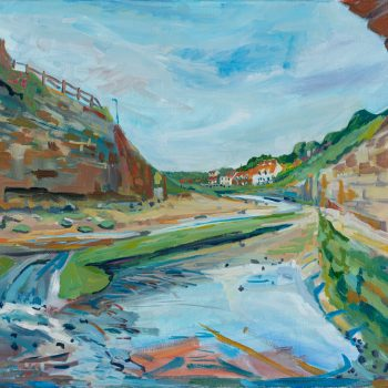 Sandsend, oil on canvas, by Emma Holliday