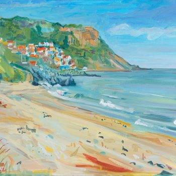 Saltburn Cliffs painting, oil on canvas by Emma Holliday