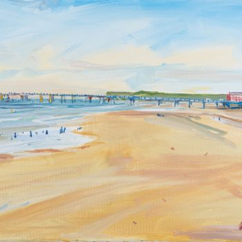 Saltburn Pier painting, oil on canvas by Emma Holliday