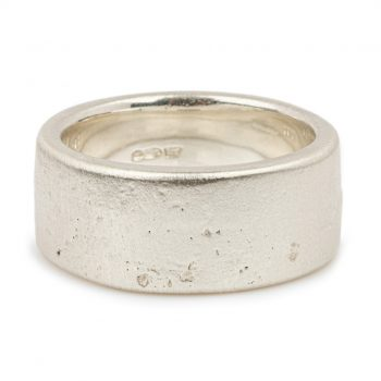 Sand cast 10mm silver ring by Justin Duance