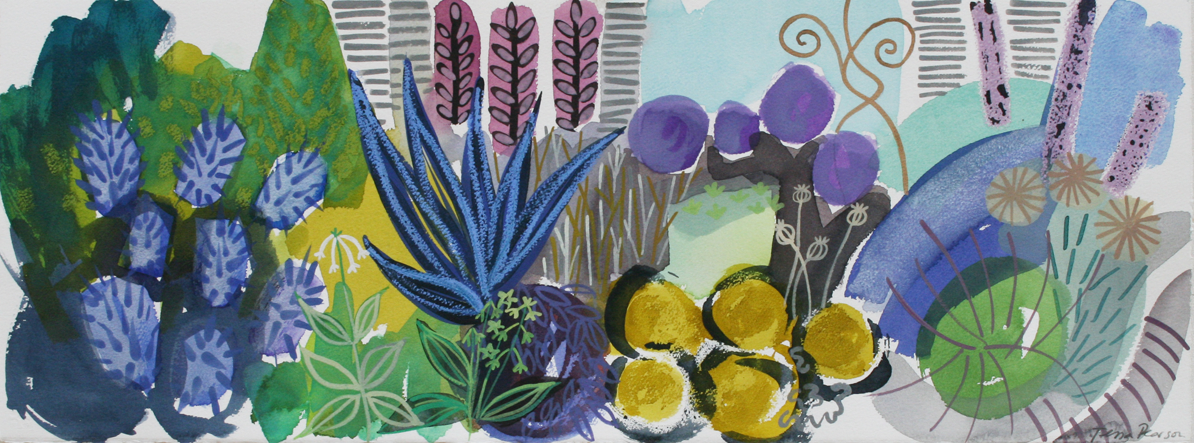 Sapphire Clematic Tower Border by Tessa Pearson, Watercolour