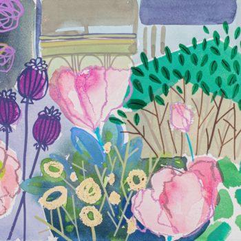 Lilac Poppy Courtyard by Tessa Pearson, watercolour